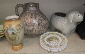 A large pottery wine jug/pitcher, a vase, other decorative items