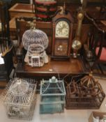 4 ornamental bird cages; a reproduction wall clock and barometer