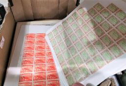 Half sheets of Belgian Congo stamps