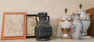 Two large classical vase shaped table lamps; 3 vases; 2 reproduction relief plaques; a large