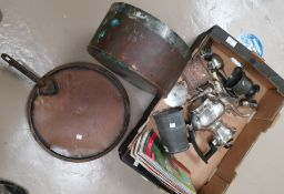 A copper jam pan stamped HMS 19; a large copper pan lid; a selection of metalware