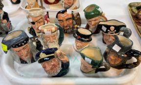 10 small Royal Doulton character jugs including Merlin D6536; Nelson D6963; The Wizard D6909;