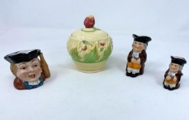 Clarice Cliff for Newport Pottery Company preserve pot with strawberry finial, leaf and fruit