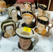 7 Royal Doulton character jugs Henry the 8th and his 6 wives