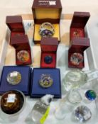 A selection of originally boxed Swarovski crystal paperweights & glassware.