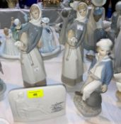A Lladro figure of boy sailor; 2 girls with sheep & Lladro collector's plaque