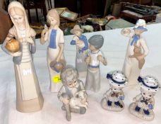 """A selection of Lladro style figures by """"Rex""""; etc"""