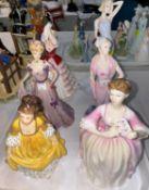 3 Royal Doulton figures - Susan HN3050; Eleanor HN3906; Coralie HN2307; 3 Coalport figures