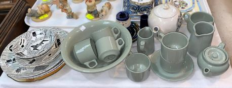 A Dudson Bros Ltd National Railway tableware in sage green; a Chaloner's advertising teapot and 3