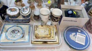 A selection of Wedgwood collectables china including picture frames, dishes, cup and saucers etc