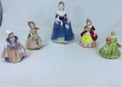 3 Royal Doulton figures - Valerie HN2107; Babie HN1679; Dinky Do HN1678; 1 Royal Worcester figure