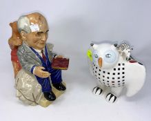 """4 Kevin Francis character Toby jugs - Gorbachov, Yeltsin & 2 Shakespeare; a Villeroy & Bosch """"Big"""