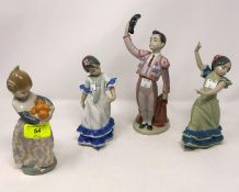 Lladro figure of bull fighter; 2 x Lladro Flamenco dancing girls; Lladro girl with oranges