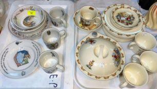 A selection of Royal Doulton Bunnykins ware; Wedgwood Beatrix Potter ware etc