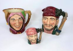 Royal Doulton character jugs - The Jester, Lumberjack large and small