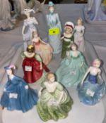 2 small Royal Doulton figures - Ruth HN2799; Fair Maiden HN2434; 8 small Coalport ladies