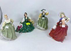 4 Royal Doulton figures - Elyse HN2474; Fairlady HN2193; Autumn Breeze HN1944; Buttercup HN2390