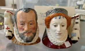 2 Royal Doulton Ltd Edition character jugs - King Philip of Spain D6822; Queen Elizabeth of