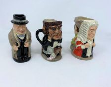 Royal Doulton Toby jug Winston Churchill height 14.5cm; 2 double faced character jugs - The