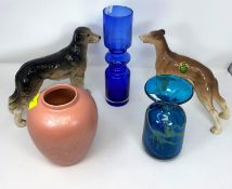 A Medina glass vase; a Whitefriars style vase & a Poole pottery vase; 2 ceramic dogs