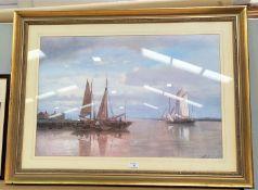 After A Hulk: Moored fishing boats, framed prnt