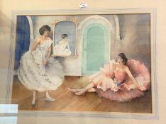 A watercolour: 2 ballet dancers; an oil: landscape scene; another picture