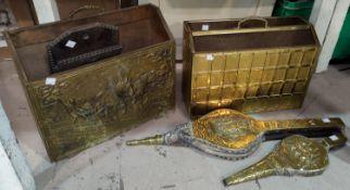Two brass magazine racks; 2 pairs of bellows
