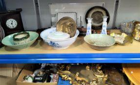 Three studio pottery bowls; a Victorian wash bowl; collectors items; a 'headsman's axe'; a gilt