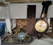 An aneroid barometer; a brass jam pan; another pan; an EPNS tray; etc.