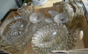 A quantity of cut and moulded glassware; 2 pieces of cut glass