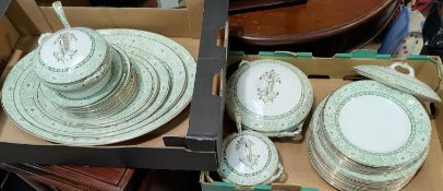 A Victorian part dinner service in green transfer print