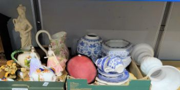 Three modern blue & white vases; other decorative china; a resin figure; etc.