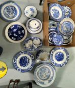 A selection of 19th century and later blue & white china