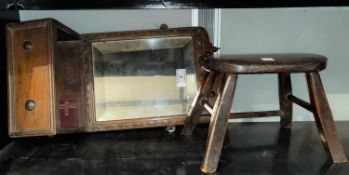 A hall mirror; a carved stool; a small footstall