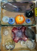 A selection of coloured glassware
