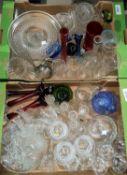 A quantity of cut/coloured glassware