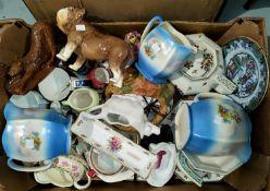 A set of 3 graduated china jugs; other decorative china