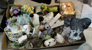 A selection of floral encrusted china; floral miniatures; etc.