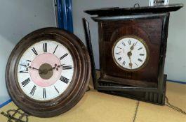 A 19th century 'Postman's Alarm' wall clock (no weight); a mantel clock