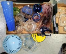 A selection of studio and other glassware including paperweights