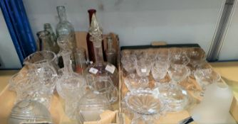 Two cut glass decanters; 2 cut water jugs; 2 sets of 6 cut wines; glassware