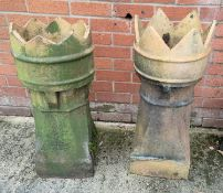 Two crown top chimney pots