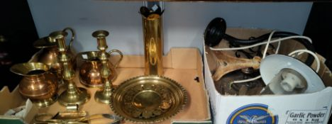 A brass shell casing, other trench art and horse shoes