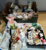 A selection of decorative & miniature china figures, animals etc