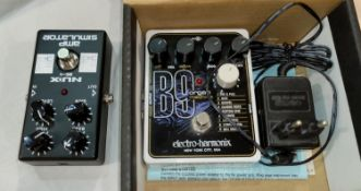 An ELECTRO-HARMONIX B9 Organ Machine effects pedal, boxed with poser supply, a NUX as-4 amp