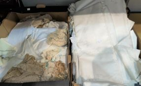 A selection of Damask lace & other linen