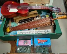 """A pink """"Thunderbirds Fab 1"""" Rolls Royce by Corgi, boxed; 2 diecast tanks; a child's guitar; other"""
