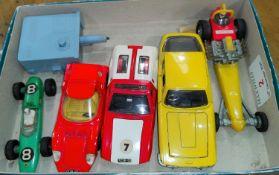 5 mid 20th century Dinky cars: red Alfa Romeo Osi Scarabeo; Green Lotus Racing car; red & cream '
