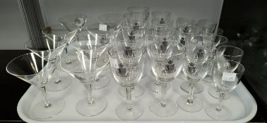 A part suite of lead crystal glasses from the Hong Kong & Shanghai Hotel: cocktail; wine; sherry;