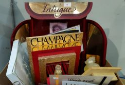 A selection of shop perfume display stands & associated items